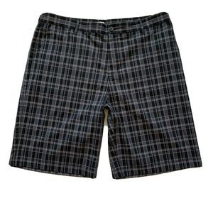 Adidas Men 38 Athletic Golf Shorts Plaid Black